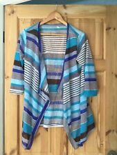 Ladies Xl Size 16 Striped Open Cardigan Blue Black Grey Colours