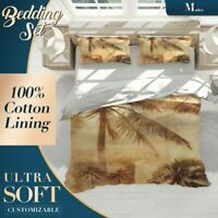 Palm Trees Contemporary Art Brown Doona Cover Set Single Double Queen King Size