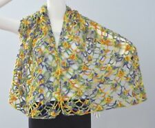 New Handmade Crochet Yellow Purple Soft Acrylic Cherished Moment Shawl Scarf