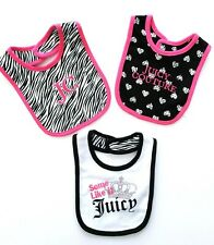 Juicy Couture Baby Girl Infant Bibs set 3 Bling Bibs NWT