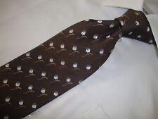 "60"" Ermenegildo Zegna made in Italy Brown floral woven 100% Silk neck tie"