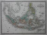 MALAYSIA, BORNEO, PHILIPPINES, JAVA, original antique map, Malte-Brun, c.1882