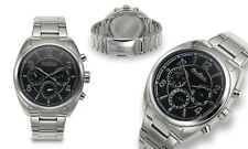 NEW Omikron 1297M Mens Striker Multi-Function Black Dial Silver Steel Watch 100m