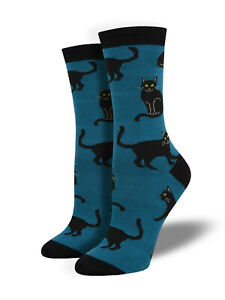 Black Cat Bamboo Socks SockSmith Womens dark blue base
