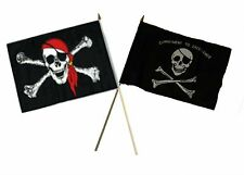 "12x18 12""x18"" Wholesale Combo Pirate Red Hat & Commitment Excellence Stick Flag"
