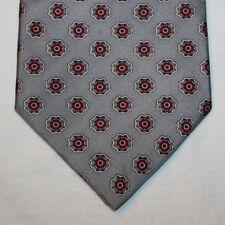 NEW Rivetz of Boston Silk Neck Tie Gray with White and Burgundy Pattern 1389