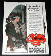 1919 OLD MAGAZINE PRINT AD, DEL MONTE BRAND QUALITY FOODS, WELL KNOWN LABEL ART!
