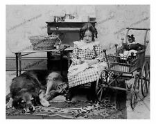 Vintage photo-Girl-sewing-dog-baby doll-buggy-8x10 in
