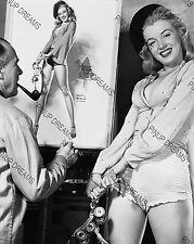 """Vintage 1950s 10"""" x 8"""" Photo of Earl Moran Sketching Marilyn Monroe Re-Print"""