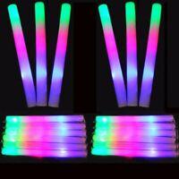 12 PCS Light-Up Foam Sticks LED Rally Rave Cheer Tube Batons Glow Wands DJ Party
