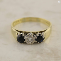 Gold Diamond Ring - Vintage 9ct Yellow Gold Sapphire & Diamond Ring Size Q