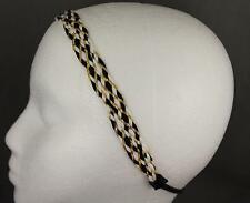 Black White Gold headband braided woven stretch elastic braid headband