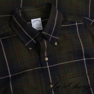 NWT Brooks Brothers Slim Fit Forest Green Blue Multi Tartan Plaid Shirt S NR #2