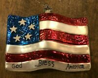Vintage Large Blown Glass Christmas Ornament Colorful American Patriot USA Flag