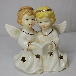 Vintage Ceramic Angel Candle Holder Duet Angels Singing Stars White Gold