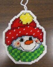 Handmade Plastic Canvas Needlepoint Large Ornament  Snowman #2