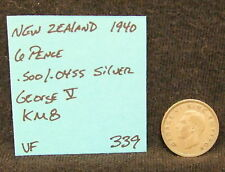 New Zealand 5 Silver Coin Lot 3 & 6 Pence 1939 1940 1942 1943 Km 7 Km 8 Vintage