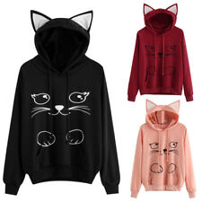 Women Casual Cute Cat Print Ear Pullover Hoodie Ladies Fashion Tops Shirt Tee UK