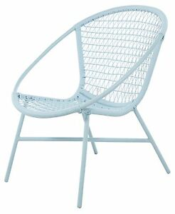 Outdoor Poly Wicker Chair - Pastel blue - looks just as good indoors - Retro Stl
