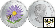 2012 'Aster and Bumble Bee' Colorized 25-Cent Coin (12995) (OOAK)