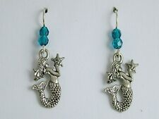 Pewter & Sterling Silver Mermaid  w/ star fish dangle earrings-Mermaids, sirens
