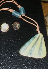 Abalone Shell Post Earring & Pendant Necklace w Beads & Adjustable Length