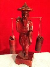 VINTAGE ORIENTAL WOODEN MAN WITH WATER BUCKETS