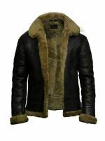 Men's Black Ginger Fur Shearling Sheepskin Leather Jacket Bomber RAF