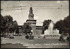 AD1615 Milano - Città - Fontana e Castello Sforzesco - Animata - Moto - Auto