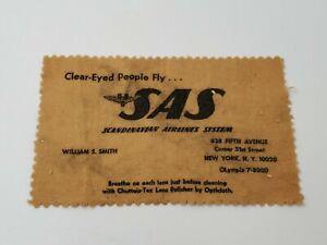 Vintage Scandinavian Airlines SAS Eyeglass Cleaning Cloth Lens Polisher