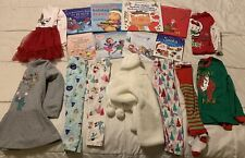 Winter Christmas Lot Capsule Of 17 Preschool Girls Size 3T Clothes, Books