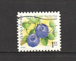 SINGAPORE 2009 FLOWER BLUE PEA VINE 1ST LOCAL 1ST PRINT (2009A) 1 STAMP USED