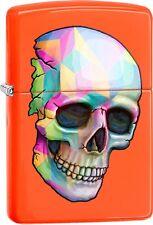 Zippo Skull Neon Orange Goth WindProof Lighter NEW 29402