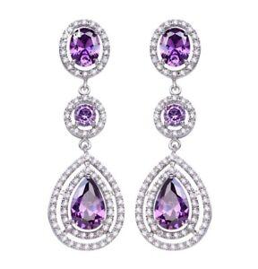 ZARD Long Teardrop Statement Purple CZ Chandelier Dangle Earrings Event Jewelry