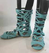 Turquoise Womens Shoes Roman Gladiator Mid-Calf Sexy Sandals Size 7.5