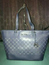 $348 Michael Kors Violet Navy Blue Carry All Tote Saffiano Leather LG