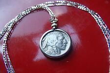 "Antique 1930's USA Buffalo Nickel COIN Pendant on a 30"" Sterling Silver Chain"