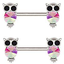 AURORA GEMMED OWL STEEL NIPPLE PIERCING RINGS BARBELLS 14g 9/16 (Sold in Pairs)