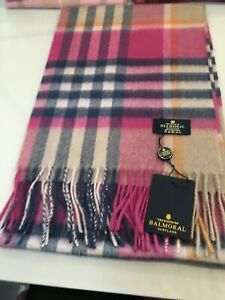 Scottish Tartan Pure 100% Cashmere Scarf New Pink Blue Check Astral Raspberry