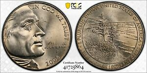 """2005-P 5C Jefferson """"Western Waters"""" Nickel PCGS MS65 Gold Shield Label"""