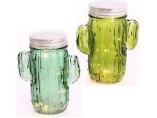 2 x LED CACTUS Vaso Fata Decorazione Regalo 15 cm Jam Mason festosa Vetro Batteria
