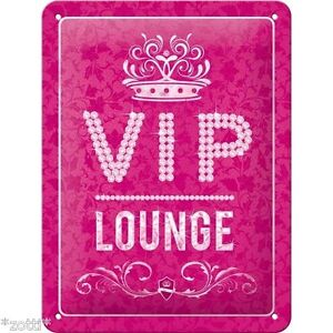 Nostalgic Art Metal Postcard 10x14 CM - Vip Lounge Pink Magenta Ladies