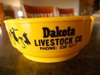 Dakota Livestock Company Advertising Cattlemen 1970's Yellow Vintage Ashtray SD