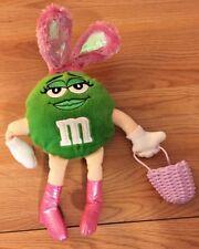 "M&Ms Green Character EASTER BUNNY Ears & Basket stuffed plush 8.5"" (w/o ears)"