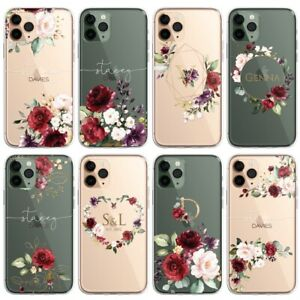 RED Floral PERSONALISED CLEAR Initials Name Phone Case Cover for iPhone Samsu...