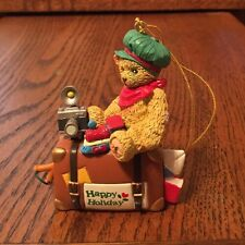 CHERISHED TEDDIES CHRISTMAS ORNAMENT~TEDDY BEAR w/ TRAIN, CAMERA & SUITCASE~1998