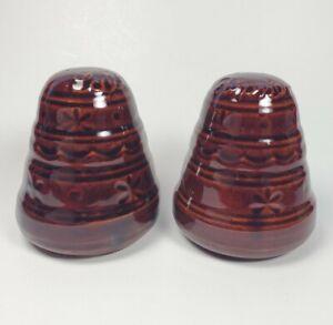 "Vintage Marcrest USA Stoneware Daisy Dots Salt & Pepper Shakers 4"" Brown Glaze"