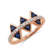 d4fa067fd9e1 0.52 TCW 14K Oro Rosa Redondo Natural Diamante Zafiro Azul Anillo Joyería