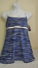 Eco Swim Womens Swimsuit Dress 1PC Black Blue White Stripes Plus Size 18 NWT