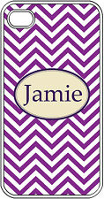 Monogrammed Purple Chevron Design iPhone 4 4S Hard White Case Cover